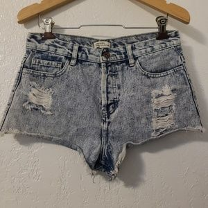 Forever 21 Acid Wash Premium Denim Short